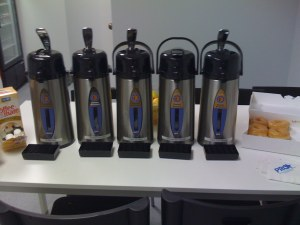 5 carafes of coffee for 4 coffee drinkers